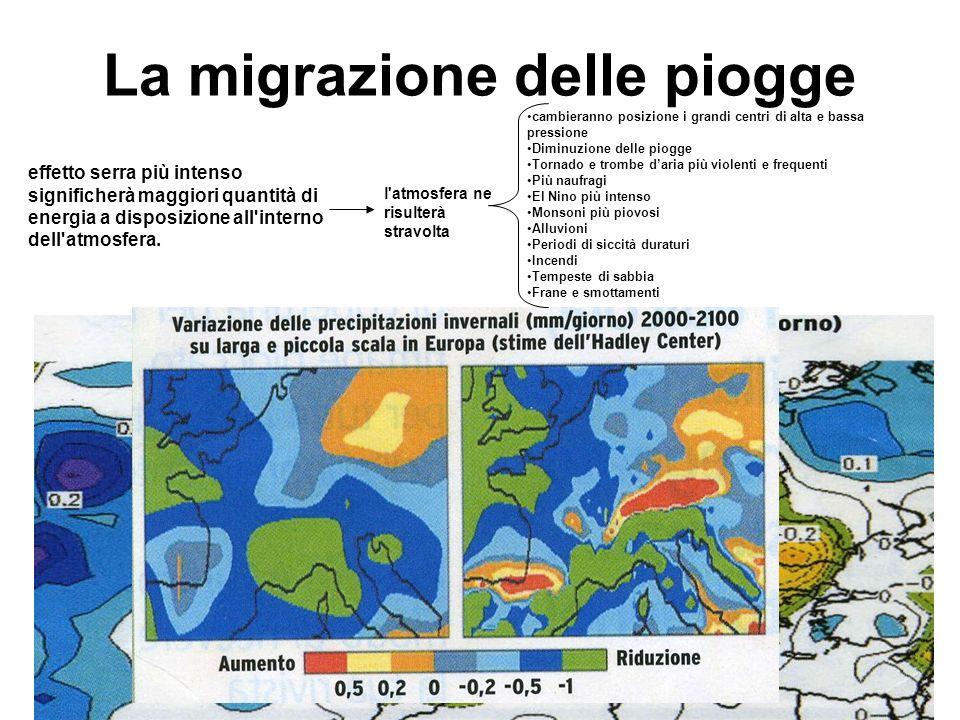 La migrazione delle piogge effetto serra più intenso significherà maggiori quantità di energia a disposizione all'interno dell'atmosfera. l'atmosfera