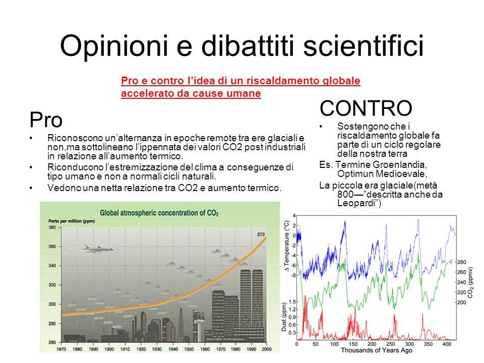 Opinioni e dibattiti scientifici Pro Riconoscono unalternanza in epoche remote tra ere glaciali e non,ma sottolineano lippennata dei valori CO2 post i
