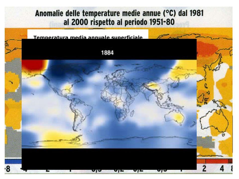 Temperature in crescita La temperatura media della Terra, che negli ultimi 1000 anni era stata circa costante,nel corso del XX secolo è aumentata di 0