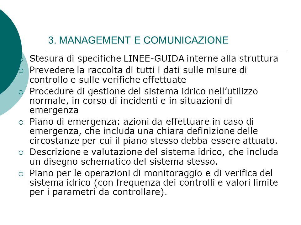 3. MANAGEMENT E COMUNICAZIONE Stesura di specifiche LINEE-GUIDA interne alla struttura Prevedere la raccolta di tutti i dati sulle misure di controllo
