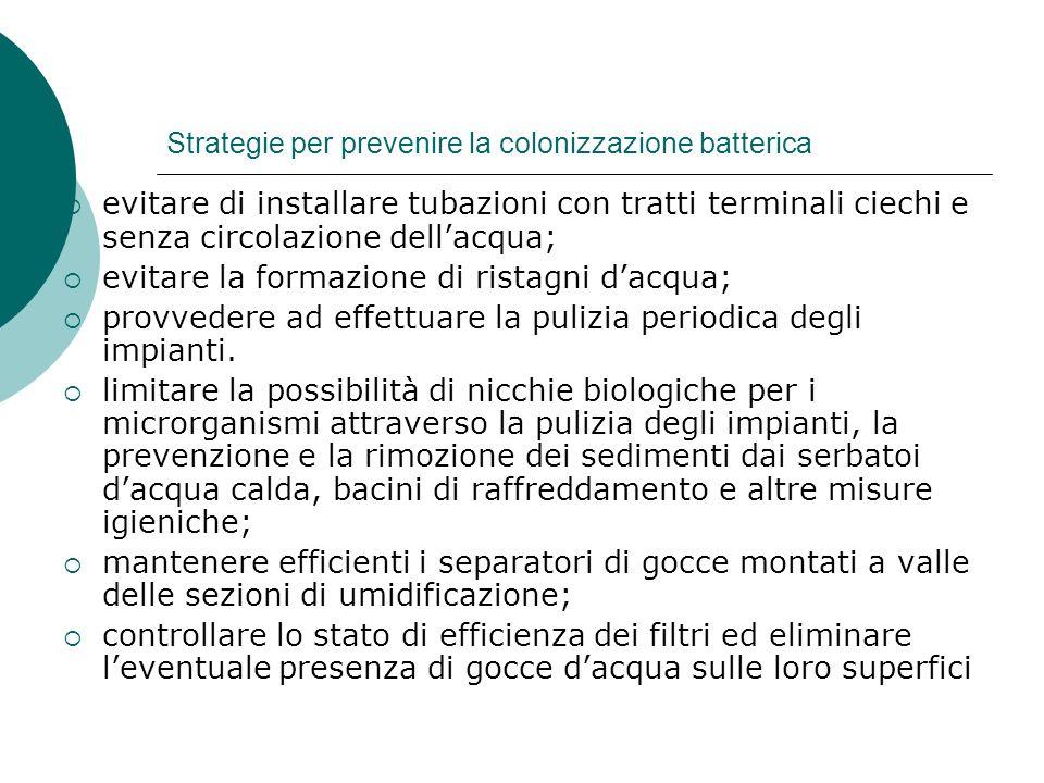 Strategie per prevenire la colonizzazione batterica evitare di installare tubazioni con tratti terminali ciechi e senza circolazione dellacqua; evitar