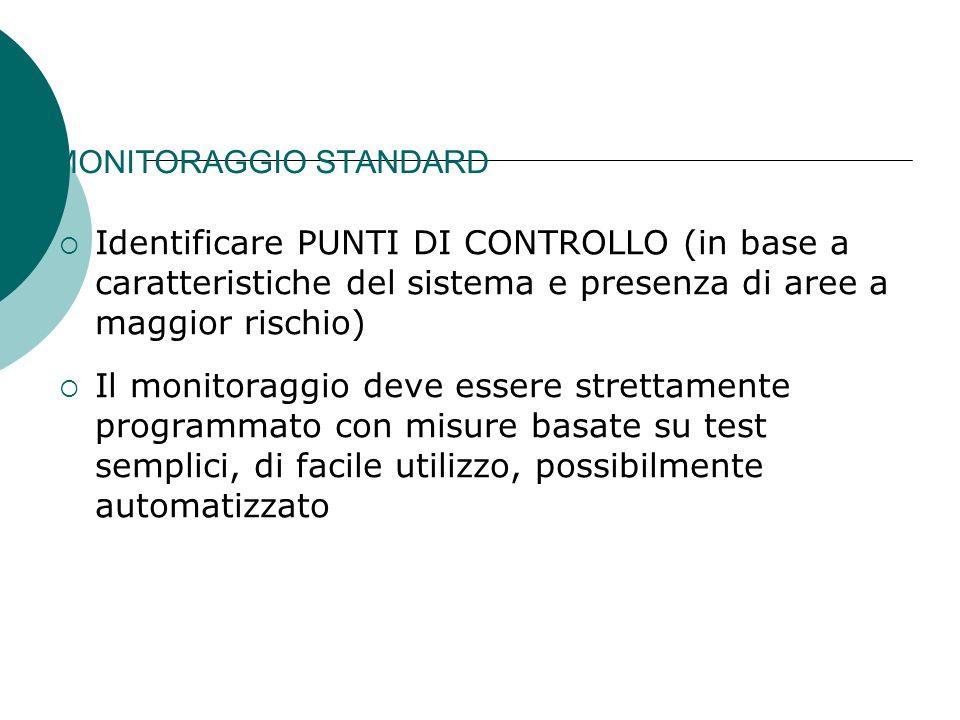 MONITORAGGIO STANDARD Identificare PUNTI DI CONTROLLO (in base a caratteristiche del sistema e presenza di aree a maggior rischio) Il monitoraggio dev
