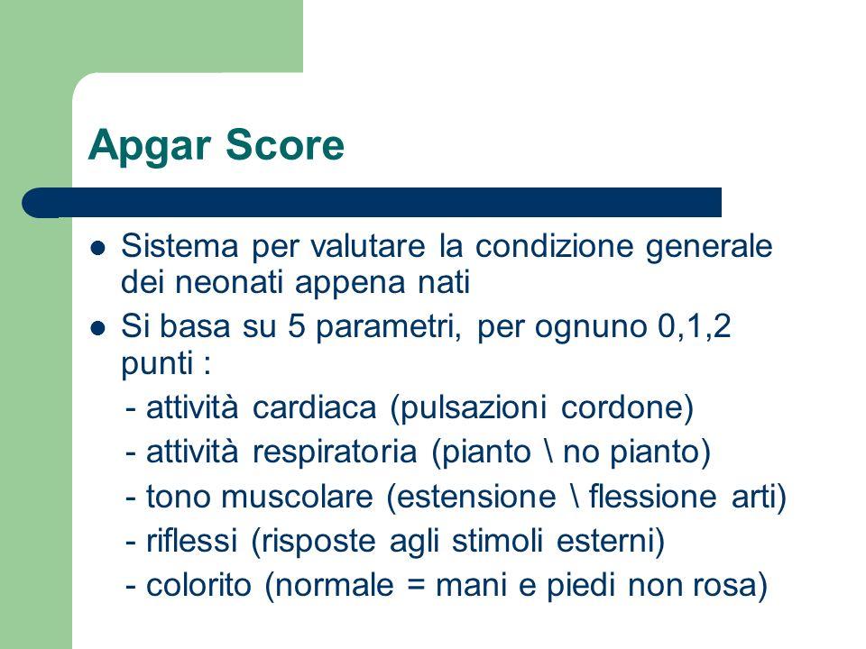 Apgar Score Sistema per valutare la condizione generale dei neonati appena nati Si basa su 5 parametri, per ognuno 0,1,2 punti : - attività cardiaca (