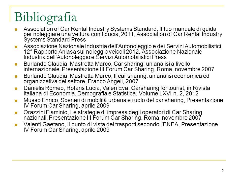 14 La composizione del parco veicolare Tabella 2c – Composizione del parco veicolare del Car Sharing – Centro/sud CittàN.