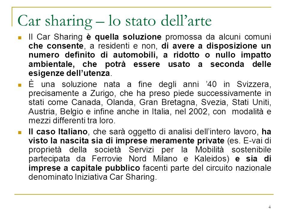15 Confronto tra tipologie di parco veicolare: il caso di Milano Tabella 3 – parco veicoli dei Car Sharing presenti nella città di Milano Classe AutomezzoCar2GoE-VAI – SemsAzienda Trasporti Milanesi City CarSmart FortwoFiat 500Smart Fortwo Fiat 500 EconomicaFiat Panda Fiat Punto Citroen C3 Fiat Panda Lancia Ypsilon Fiat Doblò Alfa Romeo Mito PremiumToyota Prius Alfa Romeo Giulietta MonovolumeVolkswagen Touran VanFiat Doblò Cargo Fiat Ducato Veicoli specialiFiat Doblò Combi ElettricoPeugeot iOn Mitsubishi I-miev Citroen C-zero Fiat Panda Peugeot iOn Fonte: ns.