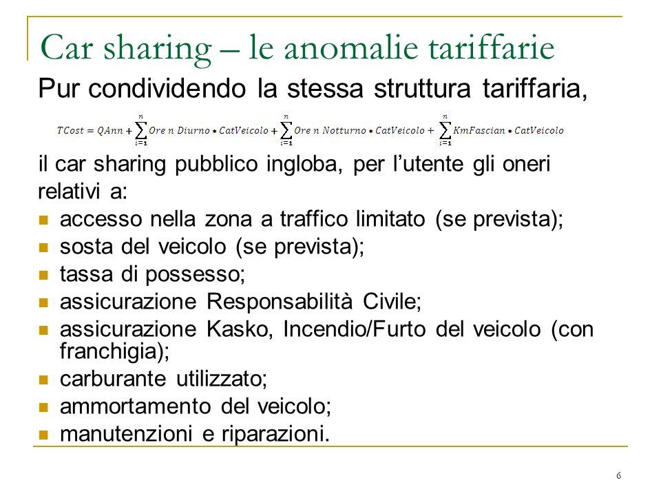 37 La valutazione di complementarietà tra i servizi – Ipotesi 1 Car Sharing Pubblico – servizio effettuato da ATM S.p.A.