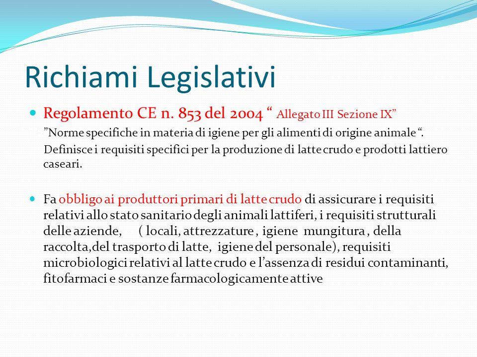Richiami Legislativi Regolamento CE n. 853 del 2004 Allegato III Sezione IX 2Norme specifiche in materia di igiene per gli alimenti di origine animale