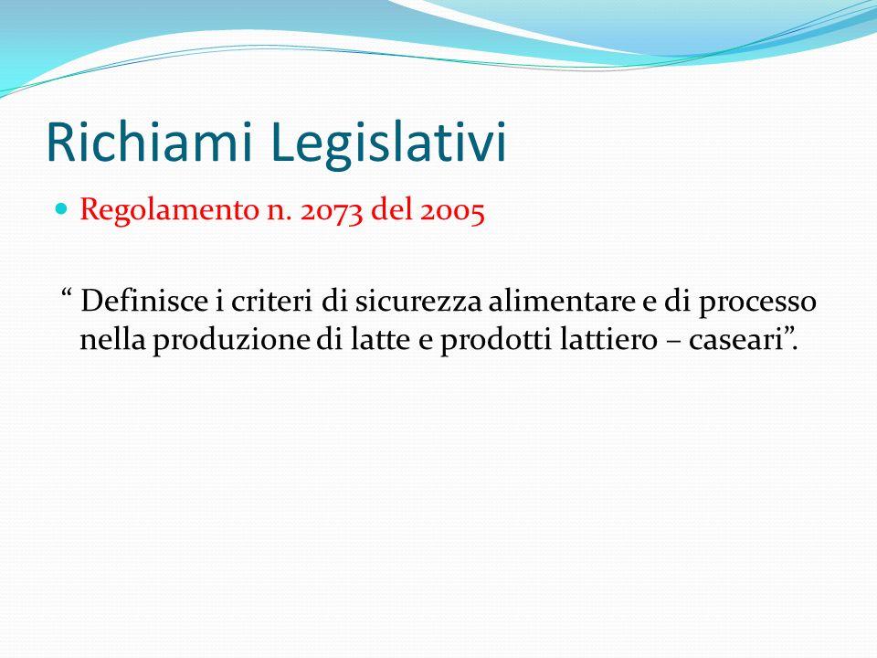 Richiami Legislativi Regolamento n. 2073 del 2005 Definisce i criteri di sicurezza alimentare e di processo nella produzione di latte e prodotti latti