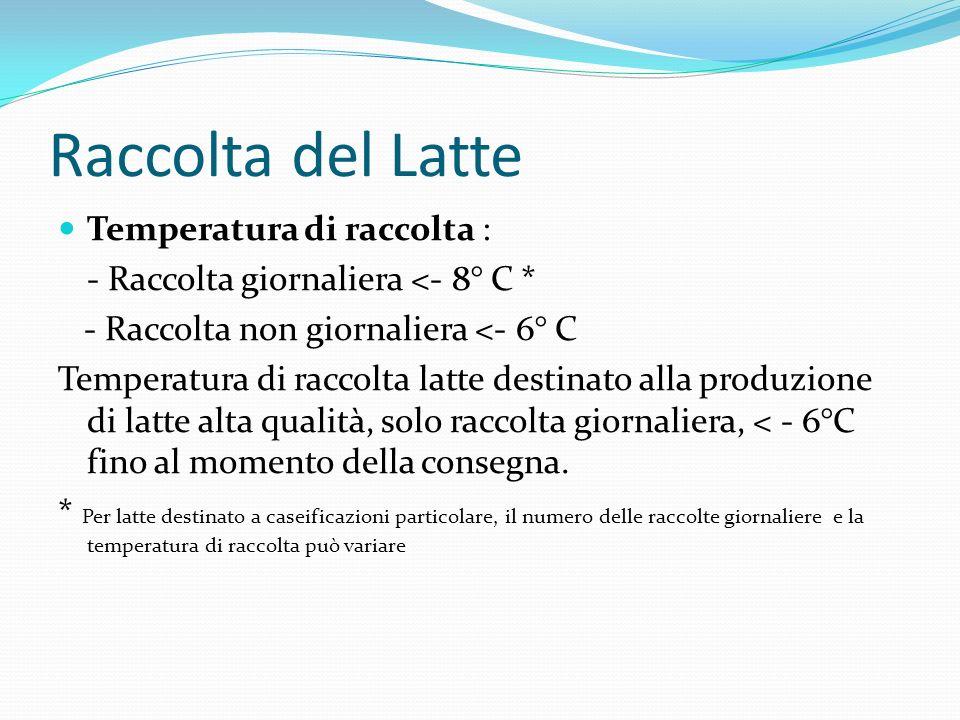 Raccolta del Latte Temperatura di raccolta : - Raccolta giornaliera <- 8° C * - Raccolta non giornaliera <- 6° C Temperatura di raccolta latte destina