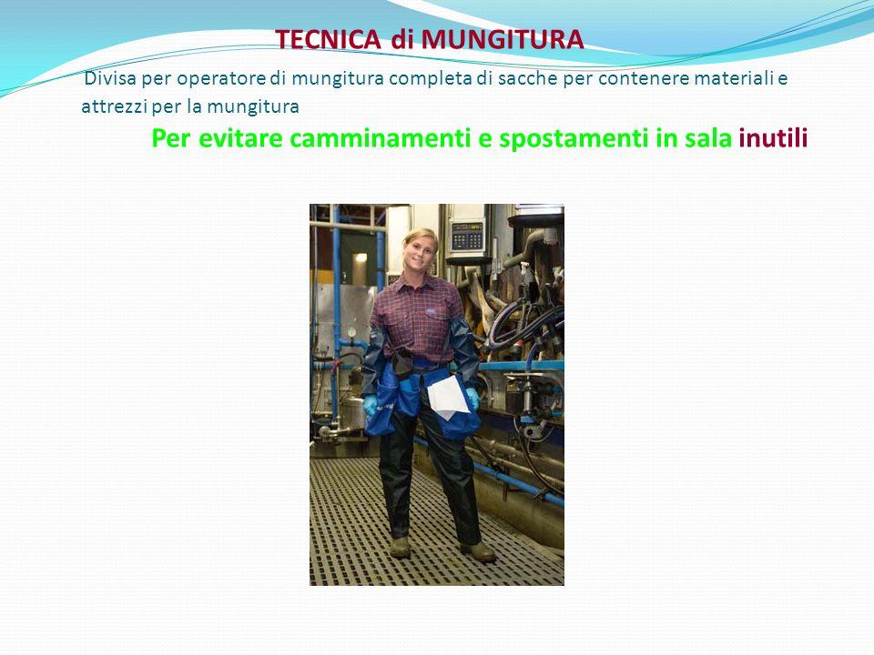 TECNICA di MUNGITURA Divisa per operatore di mungitura completa di sacche per contenere materiali e attrezzi per la mungitura Per evitare camminamenti