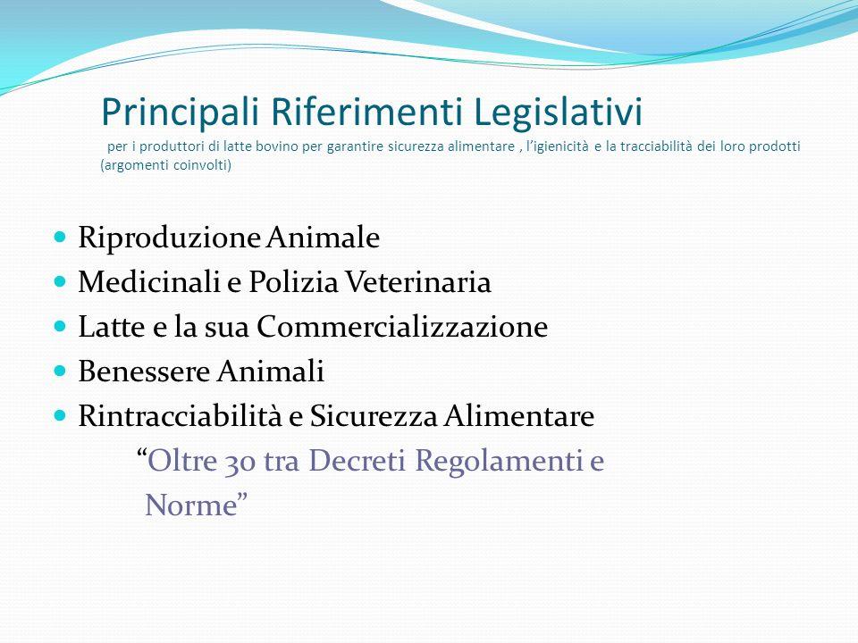 Principali Riferimenti Legislativi per i produttori di latte bovino per garantire sicurezza alimentare, ligienicità e la tracciabilità dei loro prodot