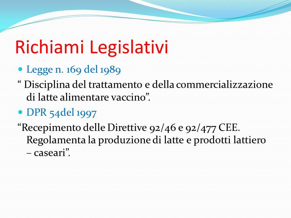 Richiami Legislativi Legge n. 169 del 1989 Disciplina del trattamento e della commercializzazione di latte alimentare vaccino. DPR 54del 1997 Recepime