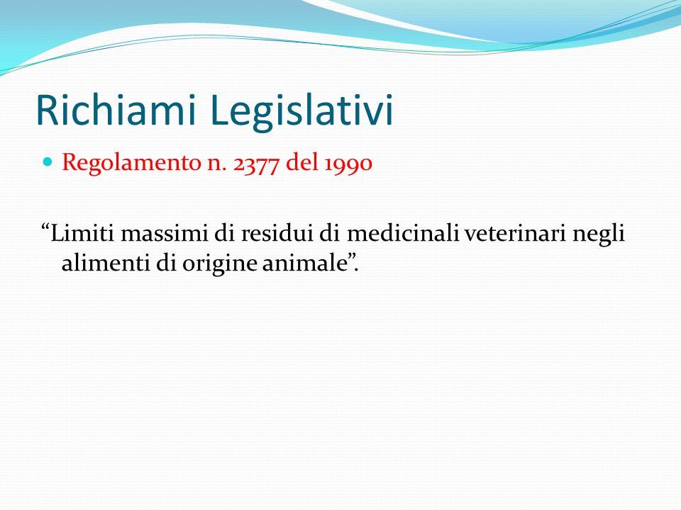 Richiami Legislativi Regolamento n. 2377 del 1990 Limiti massimi di residui di medicinali veterinari negli alimenti di origine animale.