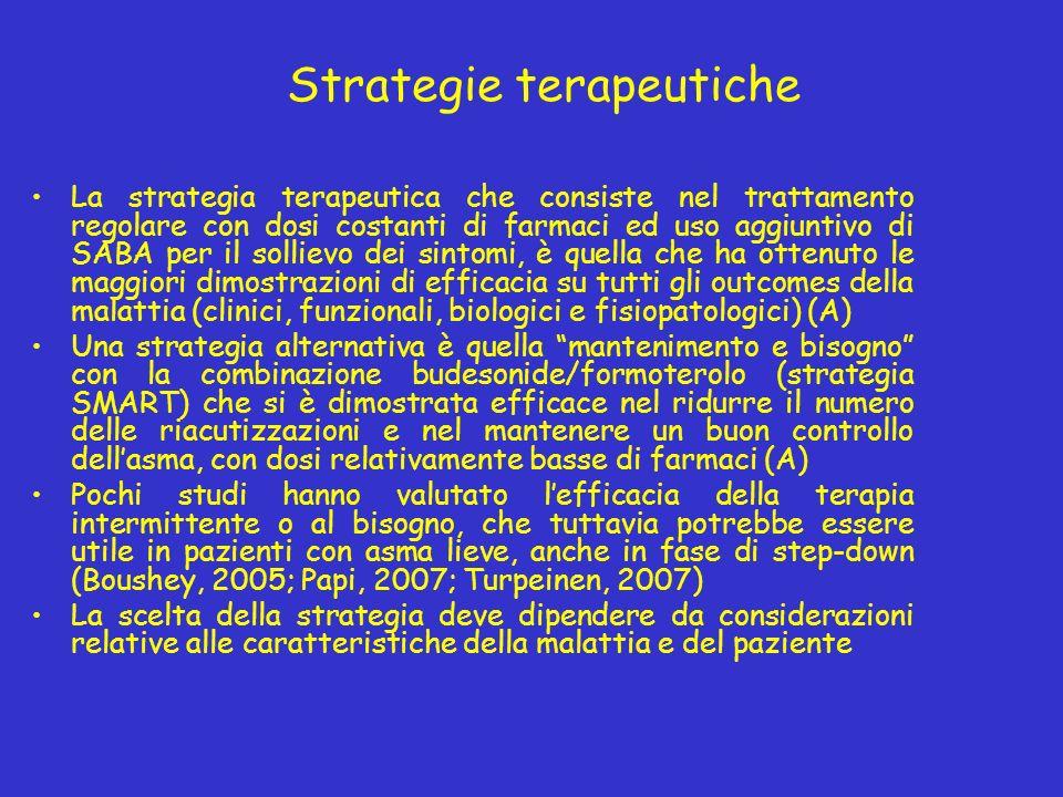 Strategie terapeutiche La strategia terapeutica che consiste nel trattamento regolare con dosi costanti di farmaci ed uso aggiuntivo di SABA per il sollievo dei sintomi, è quella che ha ottenuto le maggiori dimostrazioni di efficacia su tutti gli outcomes della malattia (clinici, funzionali, biologici e fisiopatologici) (A) Una strategia alternativa è quella mantenimento e bisogno con la combinazione budesonide/formoterolo (strategia SMART) che si è dimostrata efficace nel ridurre il numero delle riacutizzazioni e nel mantenere un buon controllo dellasma, con dosi relativamente basse di farmaci (A) Pochi studi hanno valutato lefficacia della terapia intermittente o al bisogno, che tuttavia potrebbe essere utile in pazienti con asma lieve, anche in fase di step-down (Boushey, 2005; Papi, 2007; Turpeinen, 2007) La scelta della strategia deve dipendere da considerazioni relative alle caratteristiche della malattia e del paziente