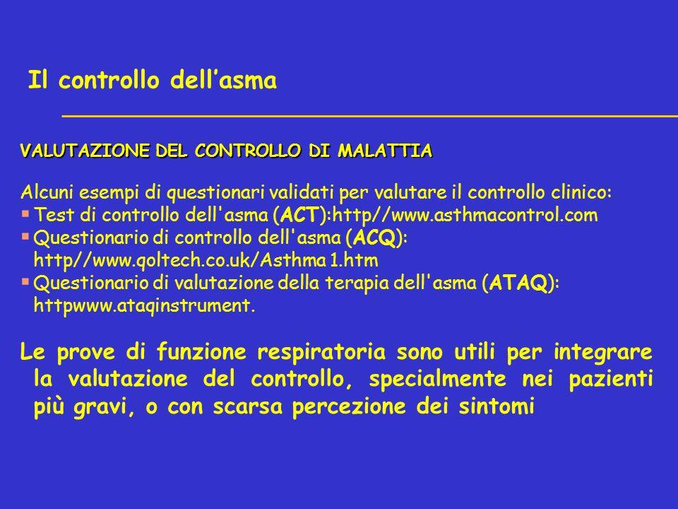 VALUTAZIONE DEL CONTROLLO DI MALATTIA Alcuni esempi di questionari validati per valutare il controllo clinico: Test di controllo dell asma (ACT):http//www.asthmacontrol.com Questionario di controllo dell asma (ACQ): http//www.qoltech.co.uk/Asthma 1.htm Questionario di valutazione della terapia dell asma (ATAQ): httpwww.ataqinstrument.
