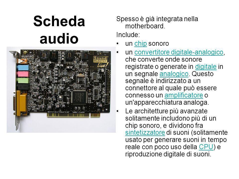 Scheda audio: Come e fatta Le moderne schede sonore contengono due sistemi hardware adibiti alla produzione e cattura dell audio: il digitalizzatore audio (convertitore digitale-analogico, DAC) e il sintetizzatore MIDI (convertitore analogico-digitale, ADC).