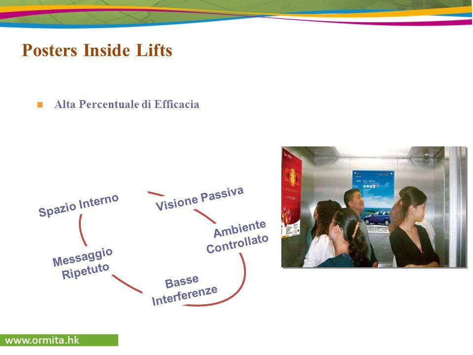 www.ormita.hk Posters Inside Lifts Spazio Interno Visione Passiva Messaggio Ripetuto Basse Interferenze Ambiente Controllato Alta Percentuale di Effic