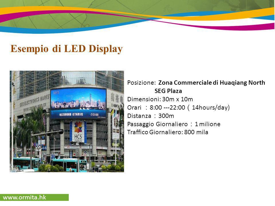 www.ormita.hk Esempio di LED Display Posizione: Zona Commerciale di Huaqiang North SEG Plaza Dimensioni: 30m x 10m Orari 8:00 ---22:00 14hours/day) Di