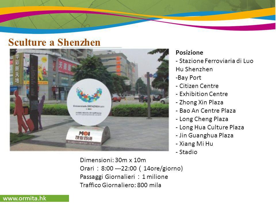 www.ormita.hk Sculture a Shenzhen Dimensioni: 30m x 10m Orari 8:00 ---22:00 14ore/giorno) Passaggi Giornalieri 1 milione Traffico Giornaliero: 800 mil