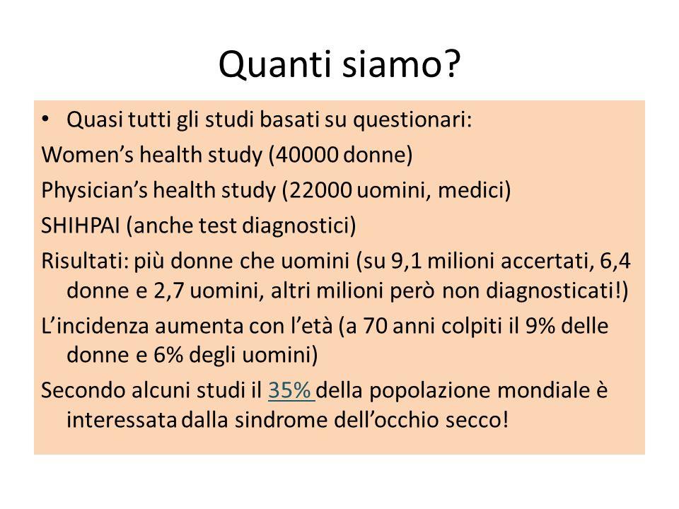 Quanti siamo? Quasi tutti gli studi basati su questionari: Womens health study (40000 donne) Physicians health study (22000 uomini, medici) SHIHPAI (a