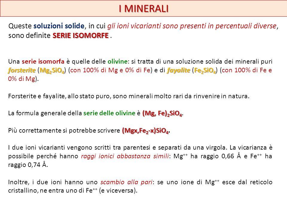 SERIE ISOMORFE Queste soluzioni solide, in cui gli ioni vicarianti sono presenti in percentuali diverse, sono definite SERIE ISOMORFE. I MINERALI fors