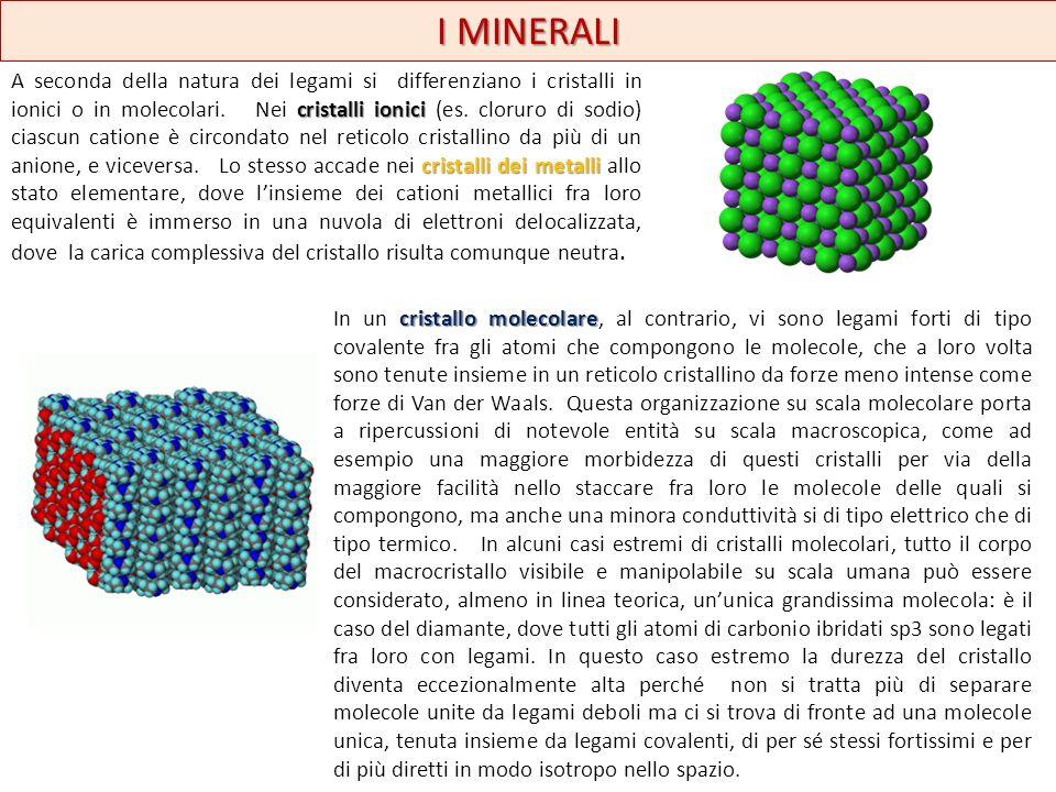 I MINERALI cristalli ionici cristalli dei metalli A seconda della natura dei legami si differenziano i cristalli in ionici o in molecolari. Nei crista