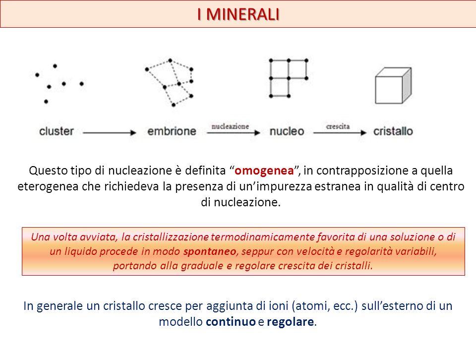 I MINERALI Questo tipo di nucleazione è definita omogenea, in contrapposizione a quella eterogenea che richiedeva la presenza di unimpurezza estranea