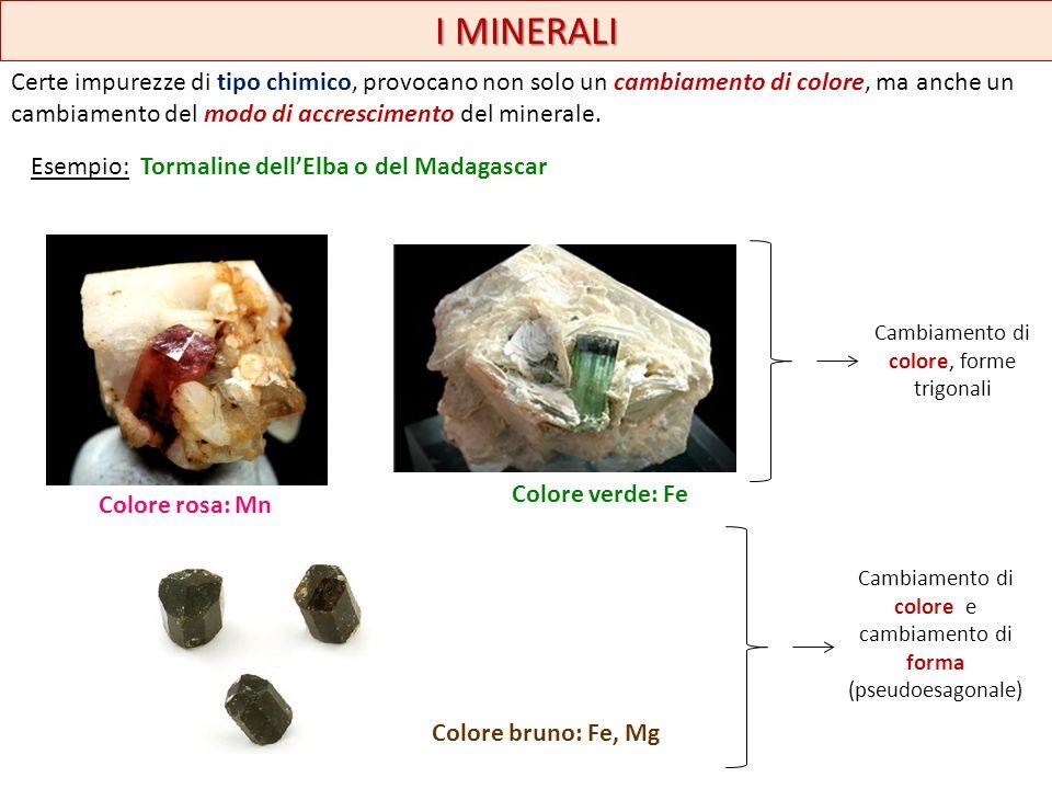 I MINERALI Una variazione delle forme può essere dovuta anche alla temperatura di cristallizzazione… Esempio: la fluorite ha forma ottaedrica o cubica quando si forma ad alta temperatura; mentre assume forme via via più complicate quando questa si abbassa.
