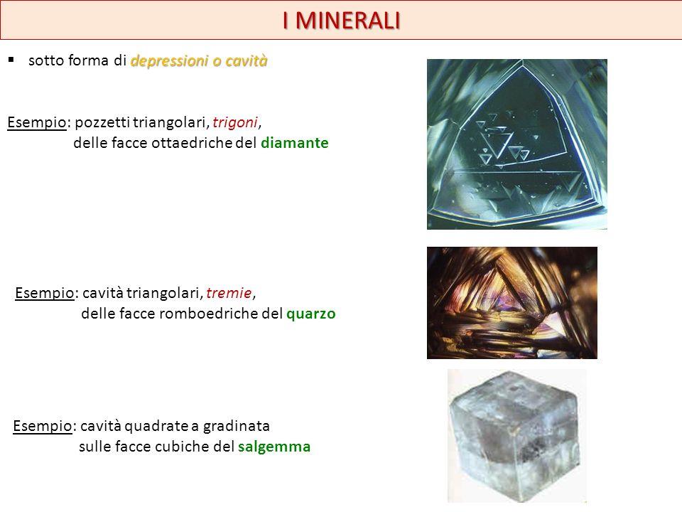 I MINERALI depressioni o cavità sotto forma di depressioni o cavità Esempio: pozzetti triangolari, trigoni, delle facce ottaedriche del diamante Esemp