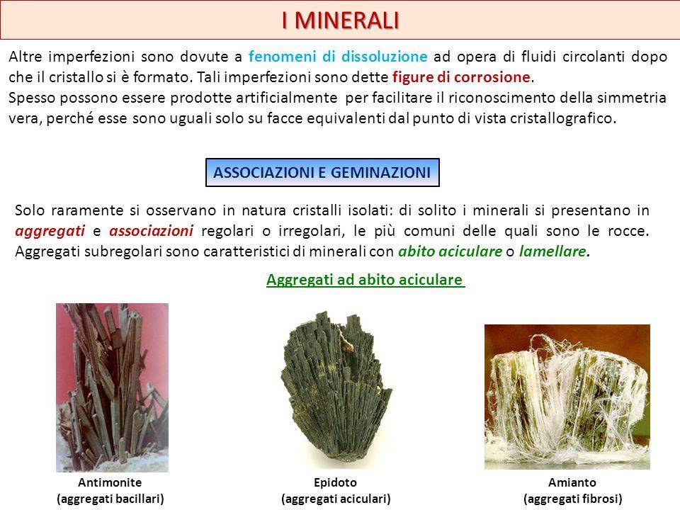 Abito lamellare I MINERALI Miche (aggregati fogliacei) Gesso (aggregati scagliosi) Wavellite (aggregati fibroso-raggiati) Ematite lamellare (aggregati a rosetta ) Dolomite (aggregati selliformi) Aggregati piu regolari Quarzo elicoidaleAragonite coralloide Quarzo elicoidale (aggregati dendritici)