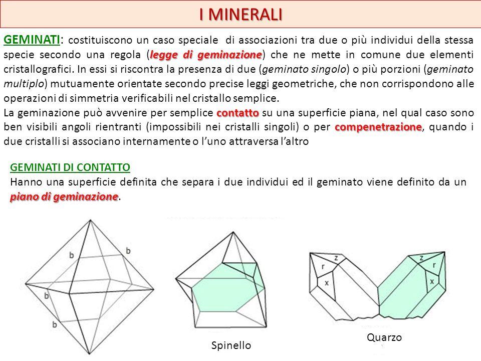 I MINERALI GEMINATI DI COMPENETRAZIONE asse di geminazione Sono costituiti da due individui che si compenetrano e che hanno una superficie di contatto irregolare e il geminato è definito da un asse di geminazione.