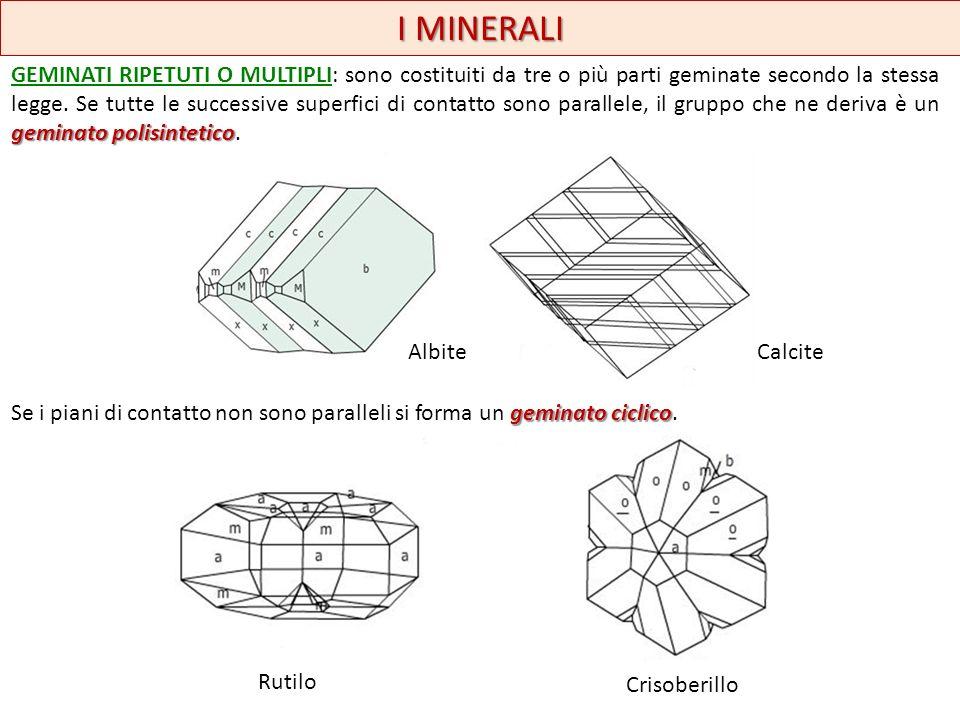 I MINERALI geminato polisintetico GEMINATI RIPETUTI O MULTIPLI: sono costituiti da tre o più parti geminate secondo la stessa legge. Se tutte le succe