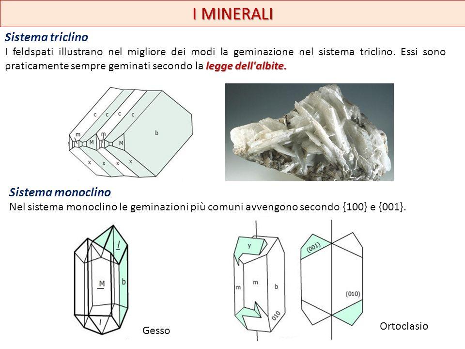 I MINERALI a coda di rondineferro di lanciagesso Alcune geminazioni sono caratteristiche di certi minerali: per esempio quella per contatto a coda di rondine e quella a ferro di lancia sono caratteristiche del gesso.