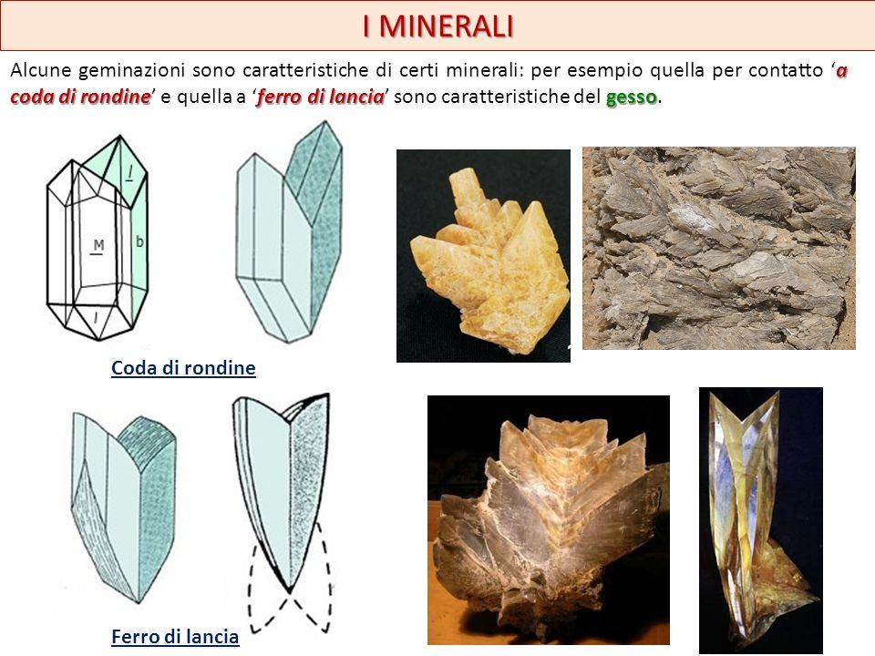 I MINERALI a coda di rondineferro di lanciagesso Alcune geminazioni sono caratteristiche di certi minerali: per esempio quella per contatto a coda di