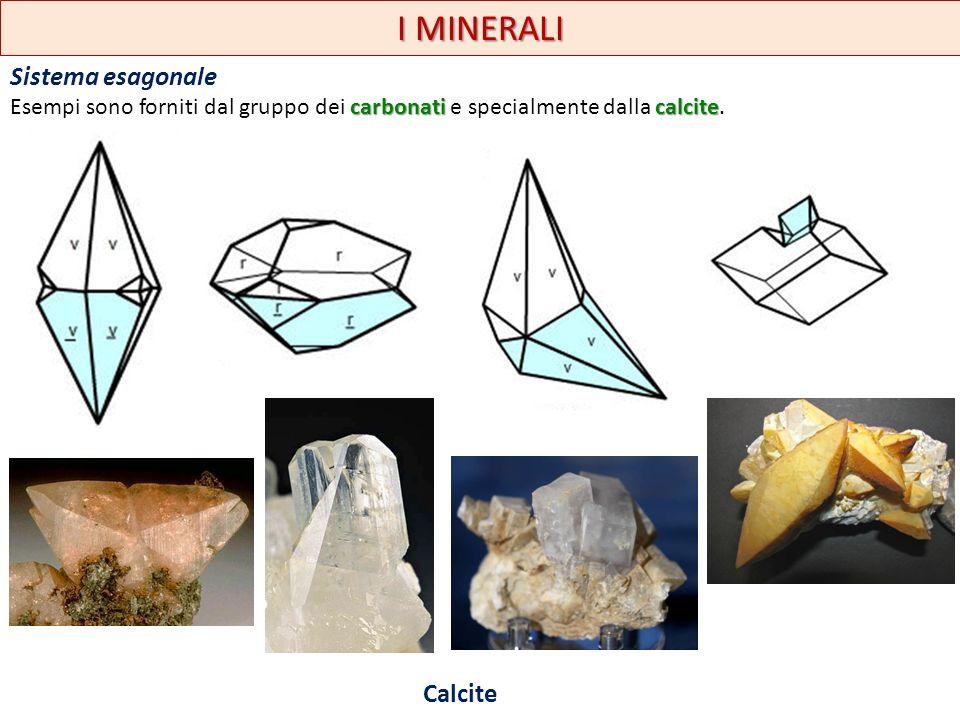 I MINERALI Sistema esagonale carbonaticalcite Esempi sono forniti dal gruppo dei carbonati e specialmente dalla calcite. Calcite