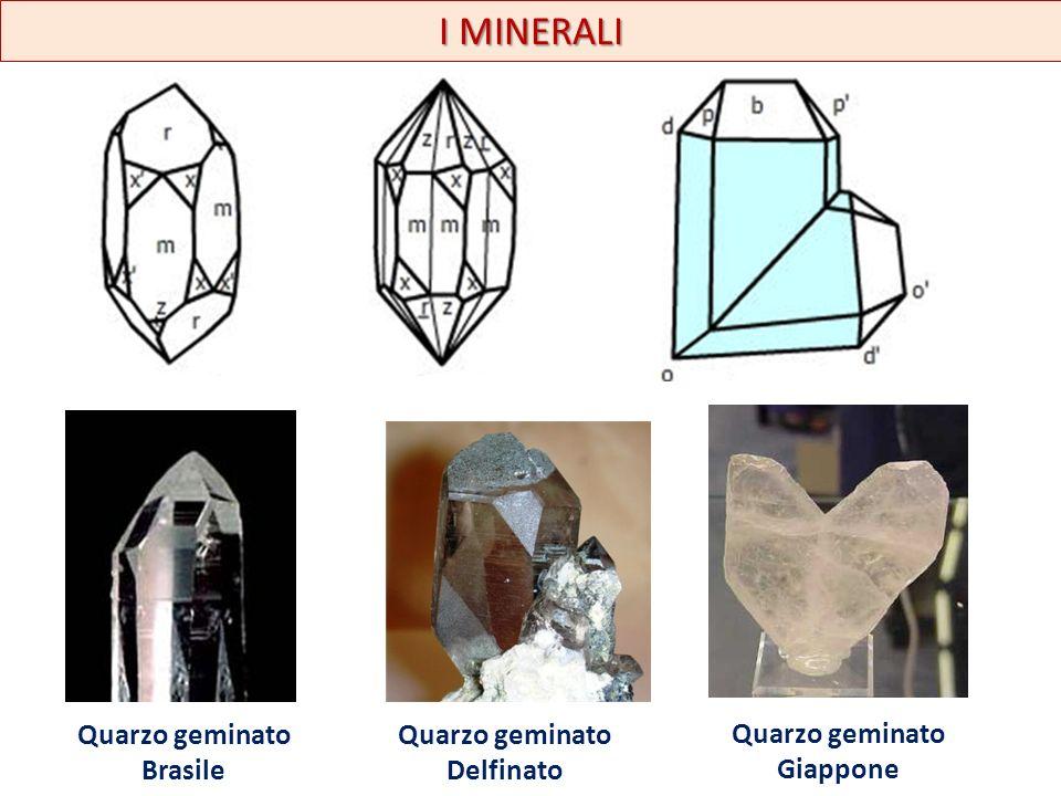 I MINERALI Sistema cubico legge dello spinello piritecroce di ferro I geminati in questo sistema sono noti come legge dello spinello poiché è frequente nel minerale omonimo.