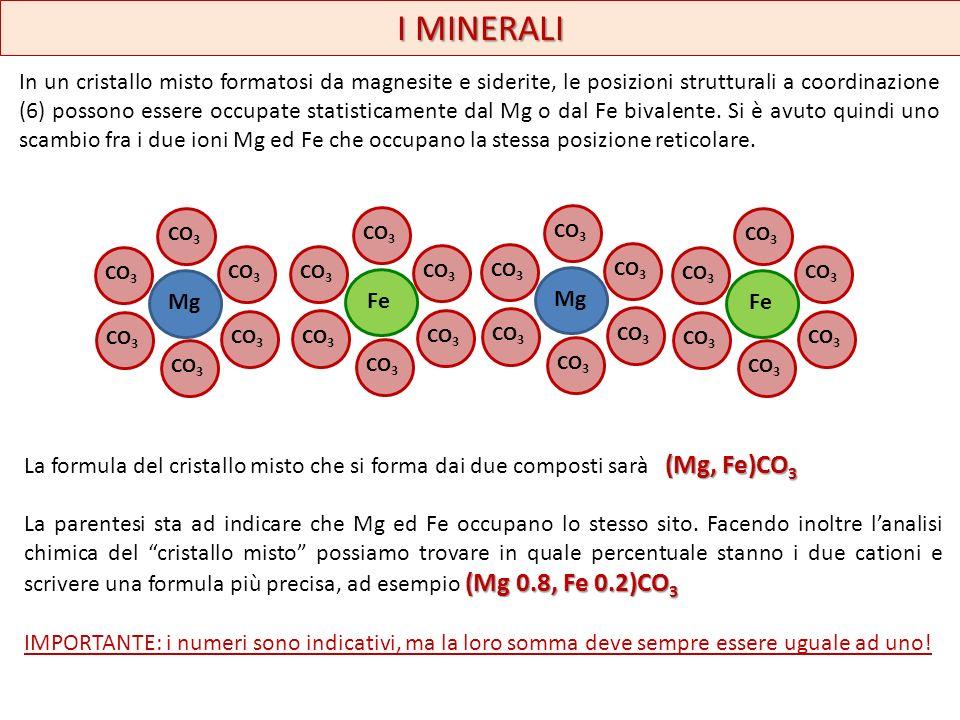 I MINERALI In un cristallo misto formatosi da magnesite e siderite, le posizioni strutturali a coordinazione (6) possono essere occupate statisticamen
