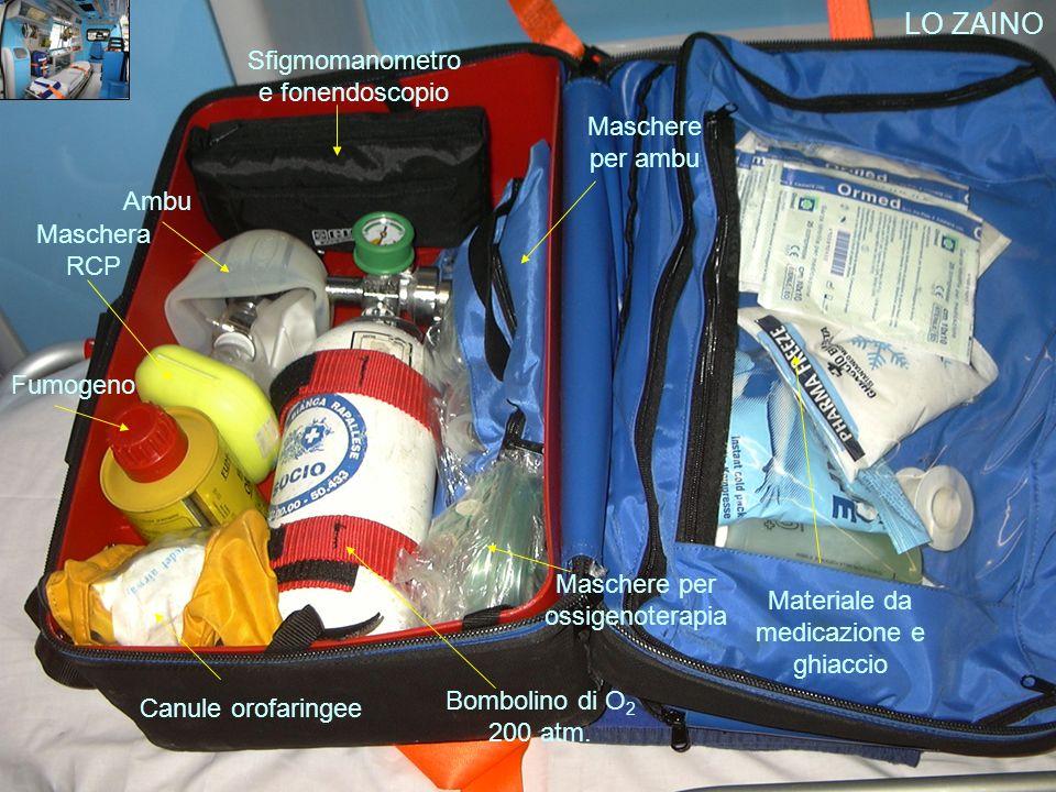 LO ZAINO Materiale da medicazione e ghiaccio Sfigmomanometro e fonendoscopio Ambu Maschera RCP Fumogeno Canule orofaringee Maschere per ossigenoterapi