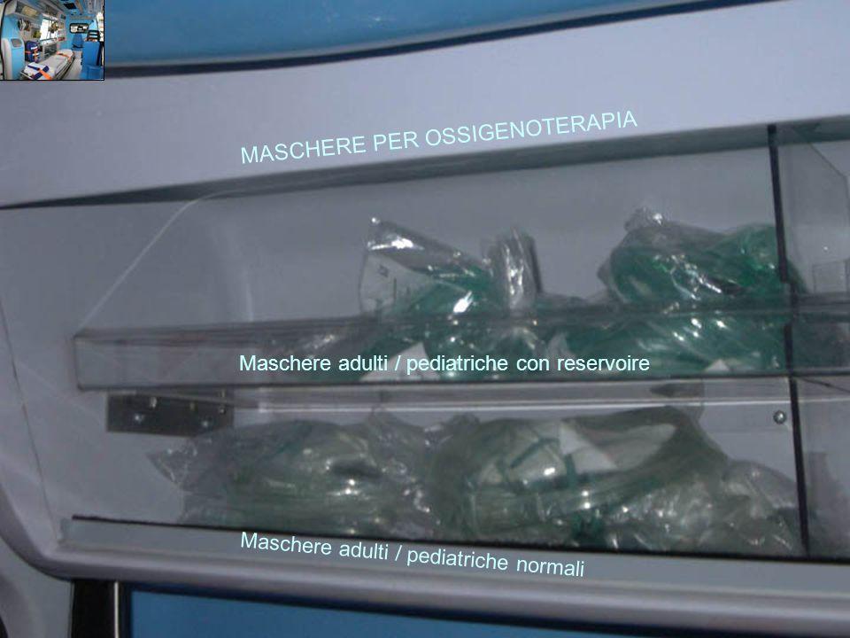 LO ZAINO Materiale da medicazione e ghiaccio Sfigmomanometro e fonendoscopio Ambu Maschera RCP Fumogeno Canule orofaringee Maschere per ossigenoterapia Bombolino di O 2 200 atm.
