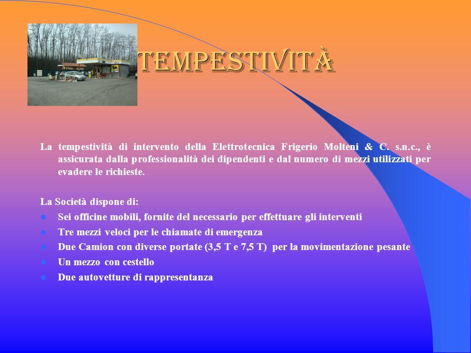 Tempestività La tempestività di intervento della Elettrotecnica Frigerio Molteni & C. s.n.c., è assicurata dalla professionalità dei dipendenti e dal