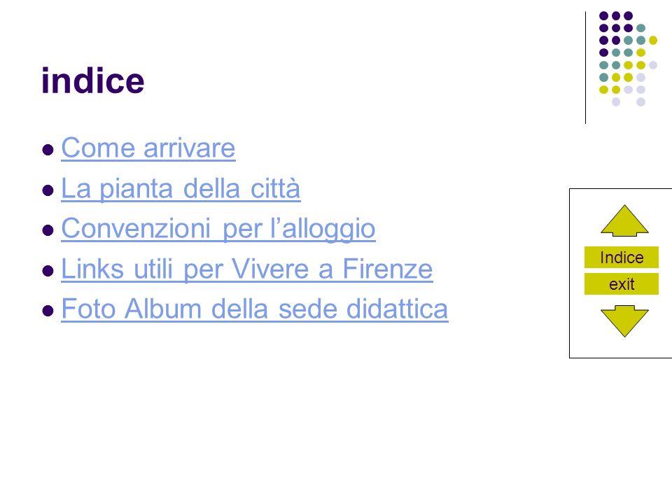 Indice exit indice Come arrivare La pianta della città Convenzioni per lalloggio Links utili per Vivere a Firenze Foto Album della sede didattica