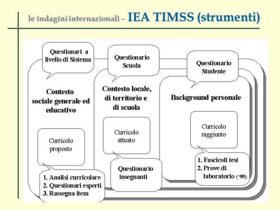 le indagini internazionali – IEA TIMSS (strumenti)