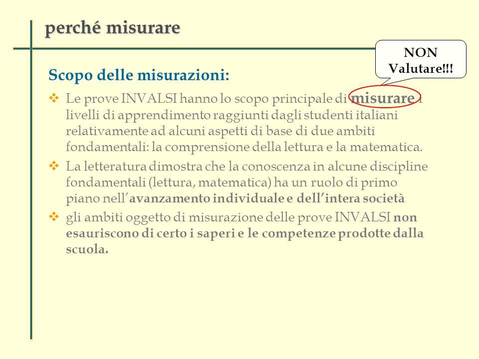 perché misurare Scopo delle misurazioni: Le prove INVALSI hanno lo scopo principale di misurare i livelli di apprendimento raggiunti dagli studenti italiani relativamente ad alcuni aspetti di base di due ambiti fondamentali: la comprensione della lettura e la matematica.