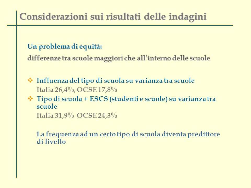 Un problema di equità: differenze tra scuole maggiori che allinterno delle scuole Influenza del tipo di scuola su varianza tra scuole Italia 26,4%, OC