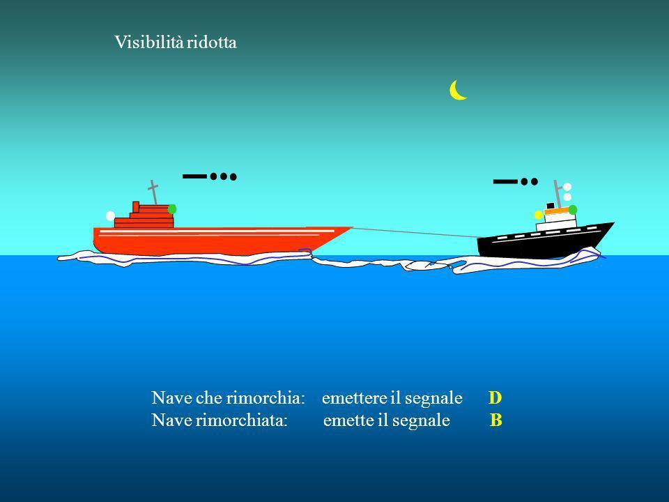 Una nave rimorchiata (se sono più di una, solo lultima) : Un fischio prolungato seguito da tre brevi, subito dopo la nave che rimorchia. Una nave alla