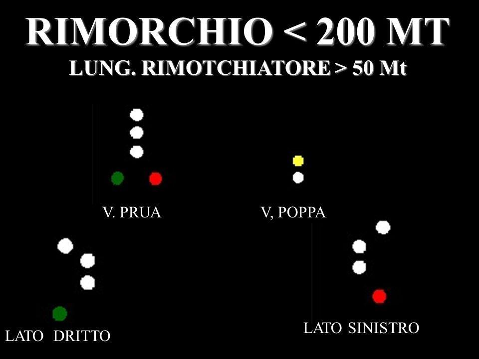 RIMORCHIO < 200 MT LUNG. RIMOTCHIATORE > 50 Mt V. PRUAV, POPPA LATO DRITTO LATO SINISTRO
