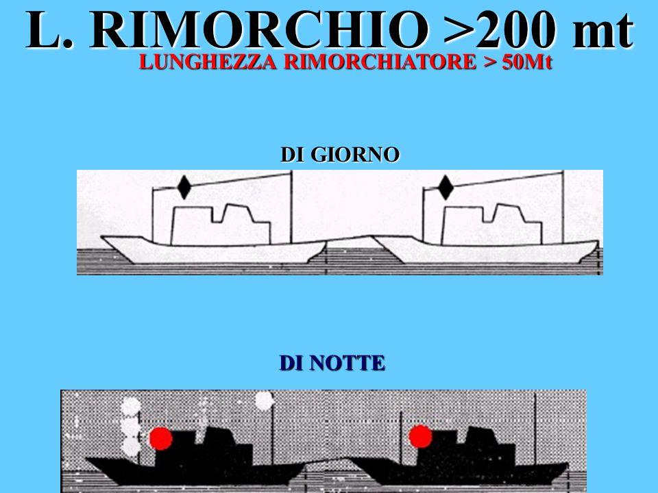 L. RIMORCHIO >200 mt LUNGHEZZA RIMORCHIATORE > 50Mt DI GIORNO DI NOTTE