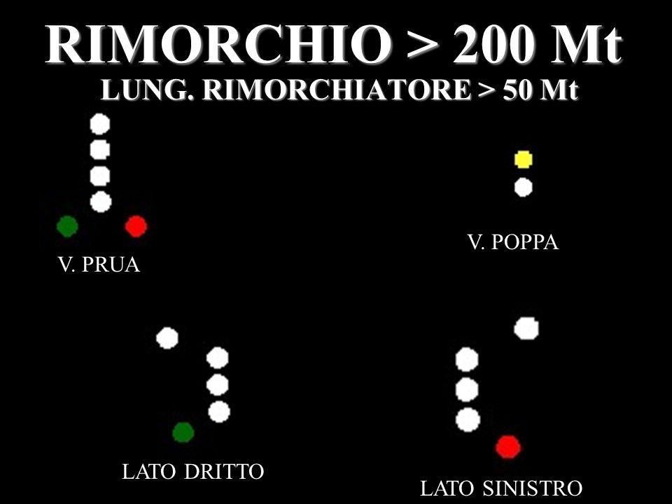 RIMORCHIO > 200 Mt LUNG. RIMORCHIATORE > 50 Mt V. PRUA V. POPPA LATO DRITTO LATO SINISTRO