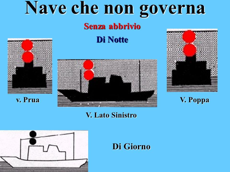 Nave che non governa Senza abbrivio Di Notte v. Prua V. Lato Sinistro V. Poppa Di Giorno