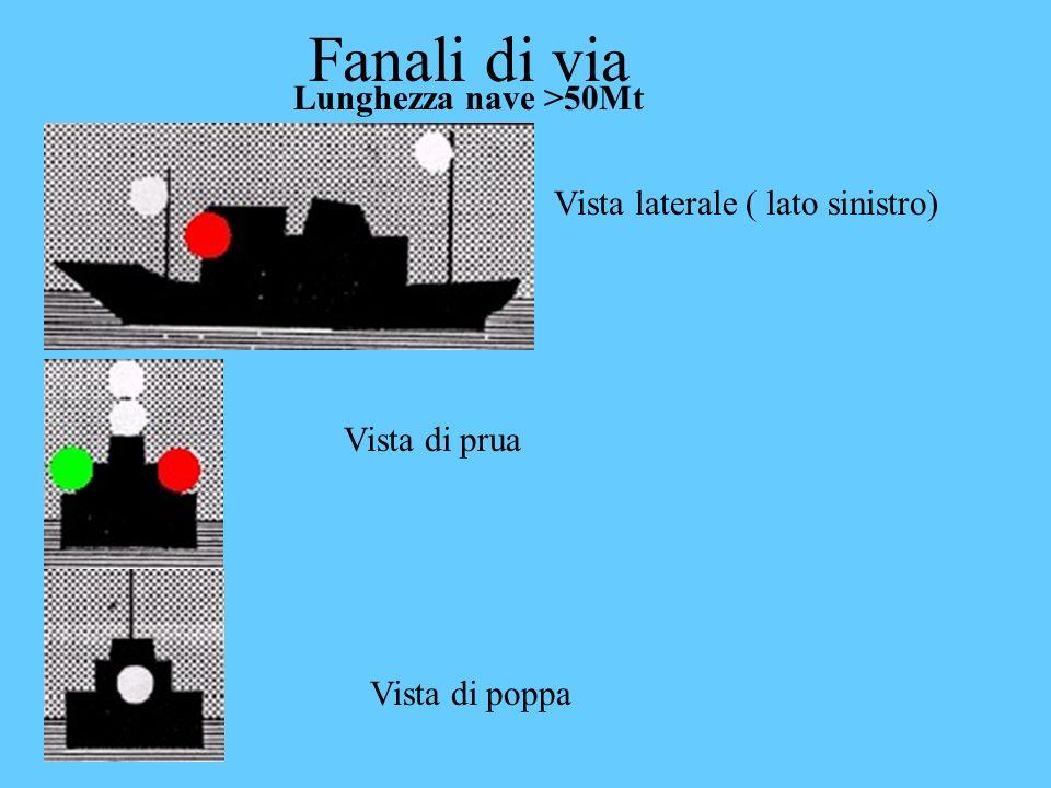 Fanali di via Lunghezza nave >50Mt Vista laterale ( lato sinistro) Vista di prua Vista di poppa